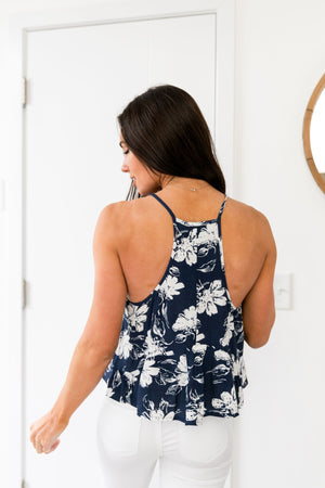 Floral Cropped Tank In Navy - ALL SALES FINAL