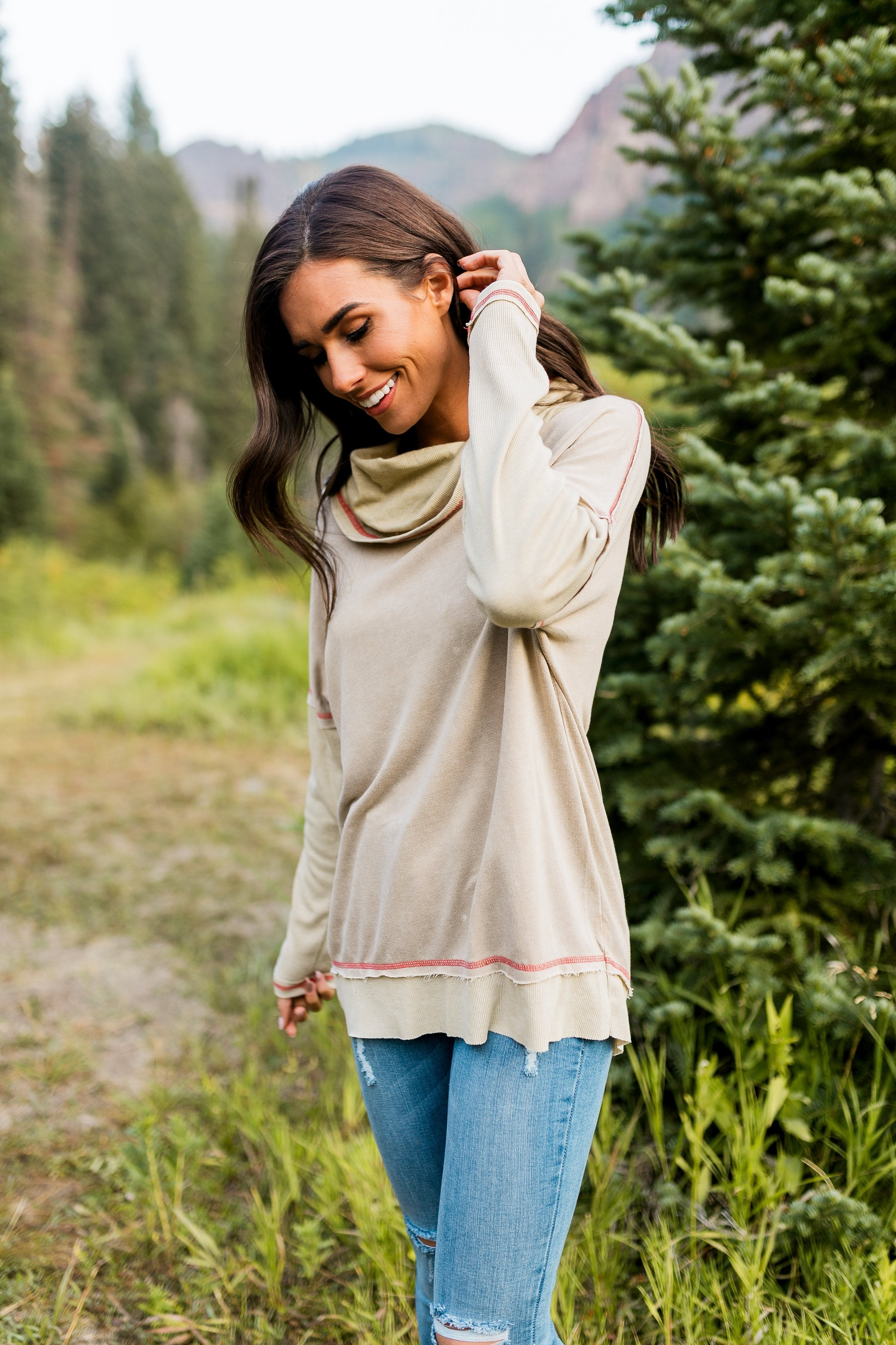 Free Spirit Cowl Neck Top In Camel