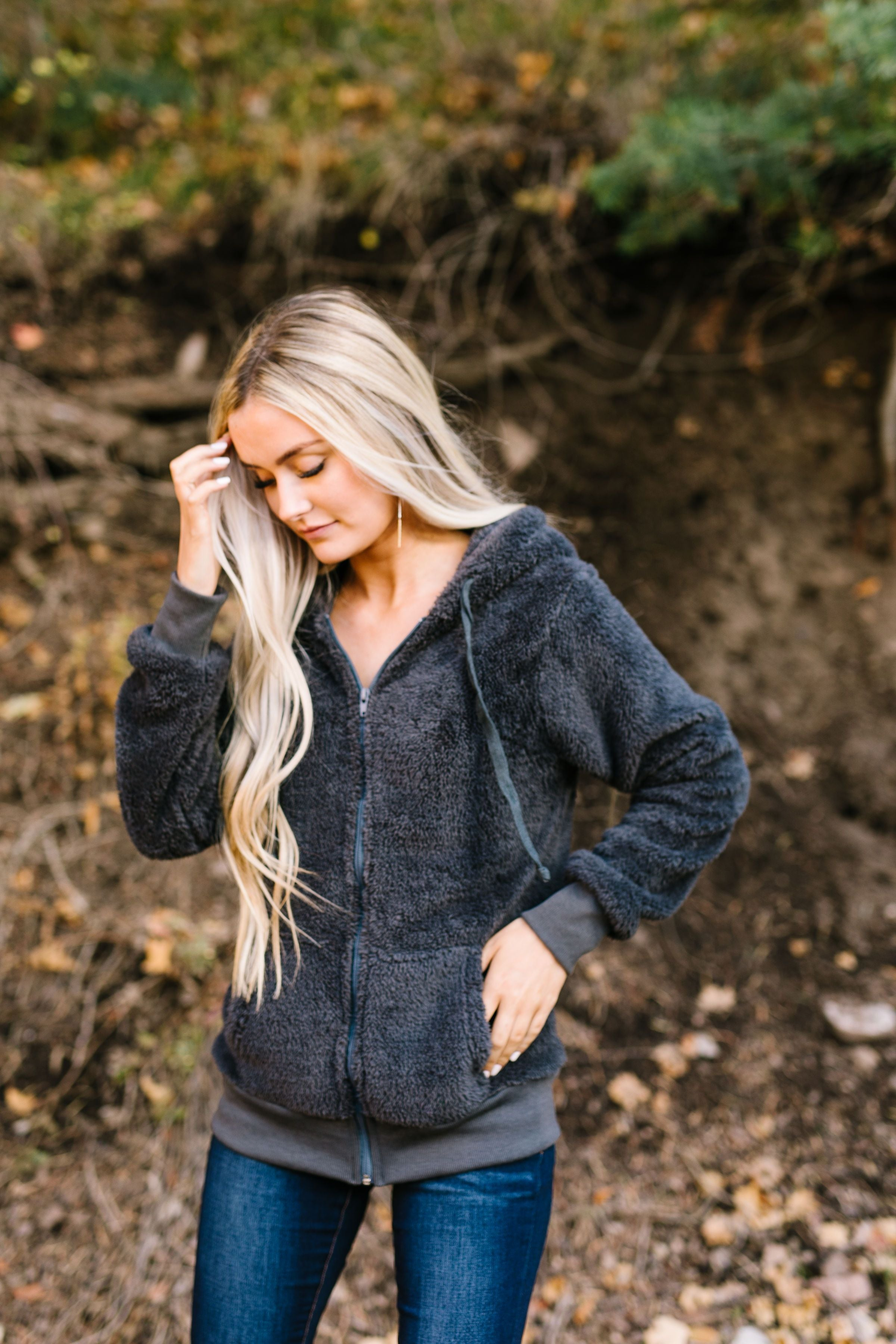 Furry Zip Up Hoodie In Charcoal - ALL SALES FINAL