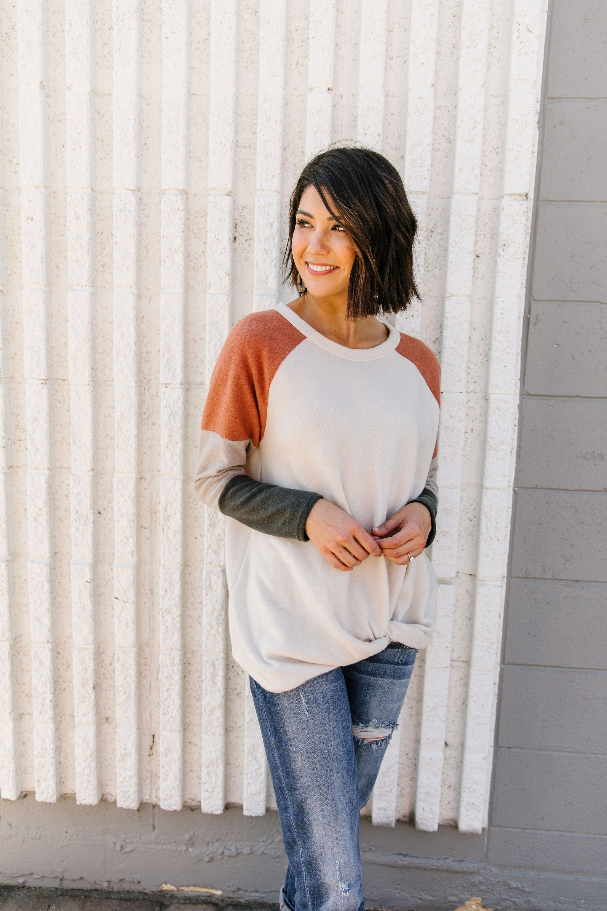 Fuzzy Color Block Top