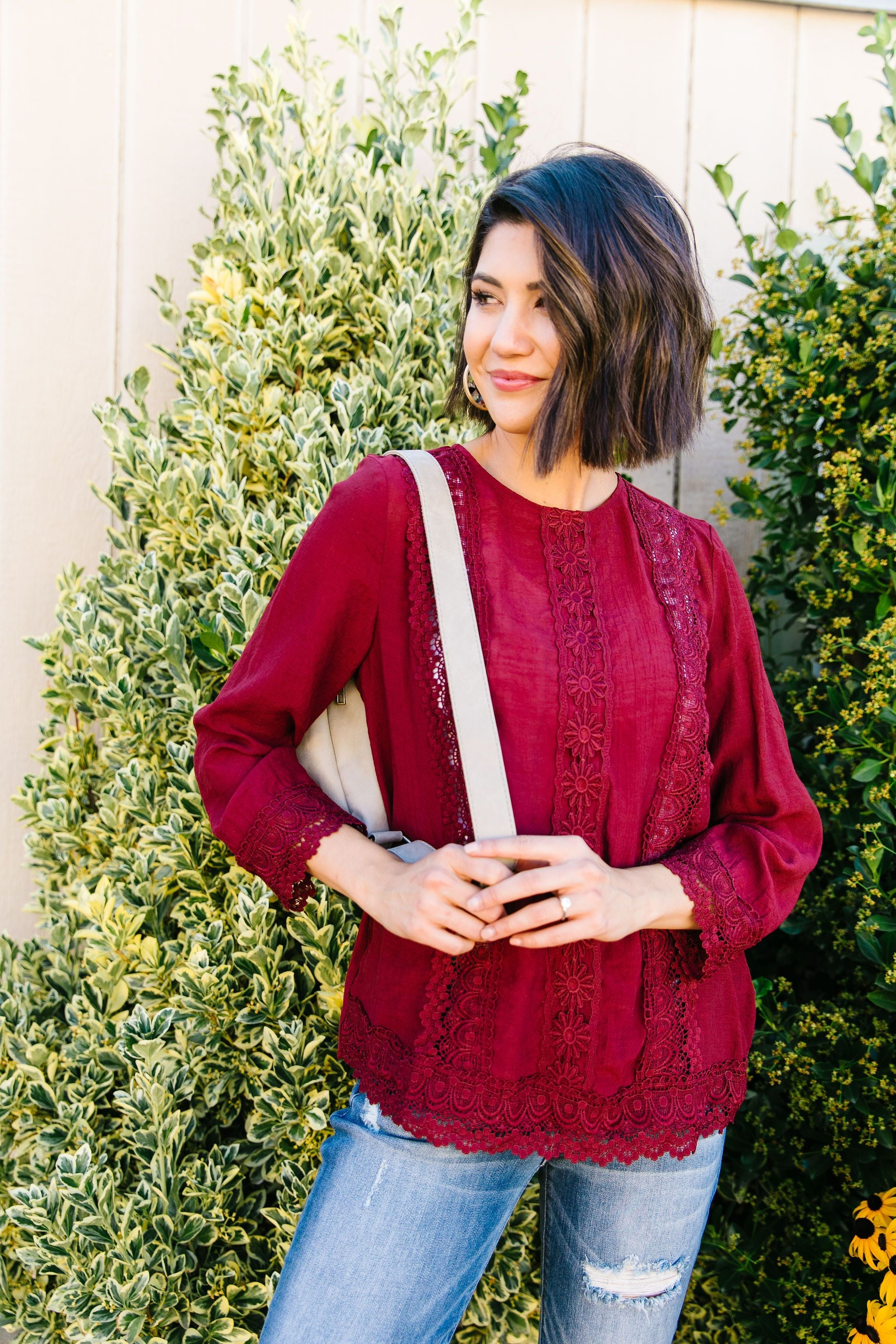 Graced With Lace Blouse In Burgundy