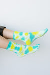 Happy Feet Tie Dye Socks In Lime & Teal
