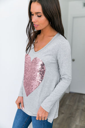 Heart's Delight Sequin Top In Gray + Pink