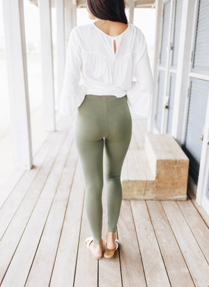 High Waist Leggings In Light Olive