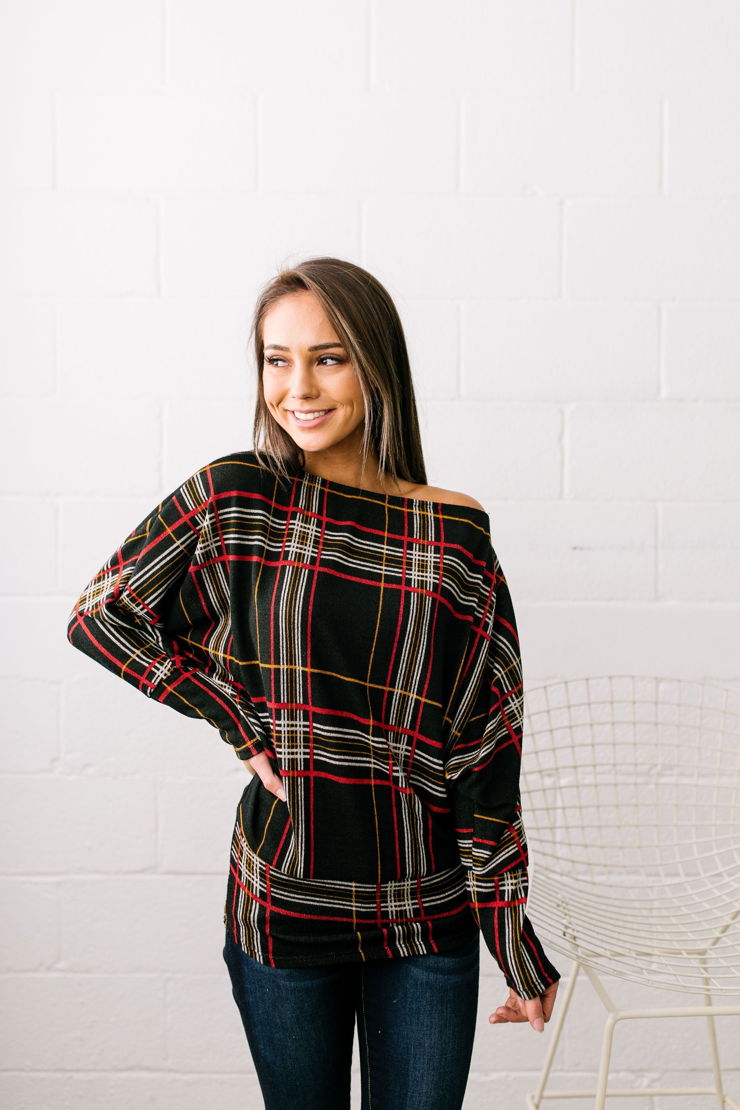 Highland Holiday Plaid Dolman Sleeve Sweater - ALL SALES FINAL