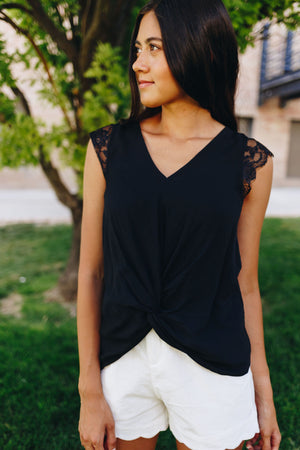 Lace Cap Sleeve Blouse In Black