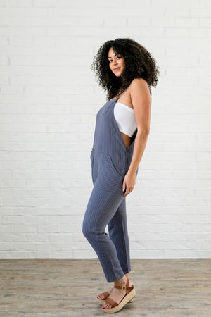 Laidback Linen Striped Overalls