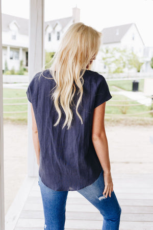 Laidback Linen V-Neck In Navy