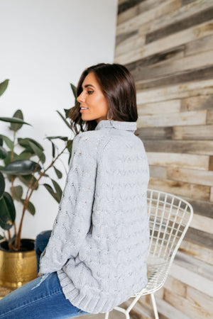 Left My Heart In San Francisco Cable Knit Sweater In Gray