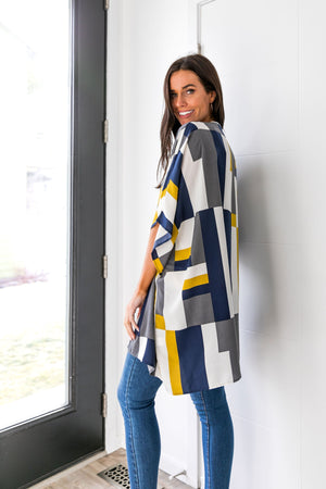 Lightweight Modern Art Color Block Cardigan