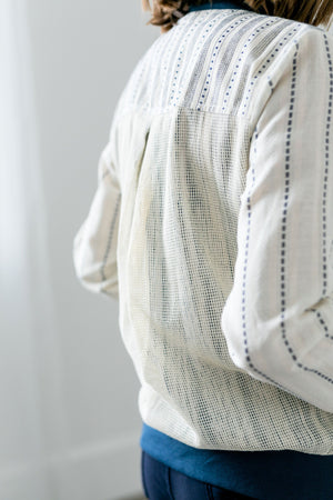 Linen + Mesh Striped Bomber Jacket - ALL SALES FINAL