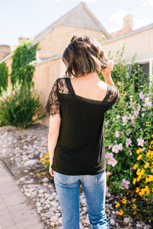 Loaded With Lace V-neck Tee