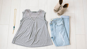 Macie Lace Top In Gray - ALL SALES FINAL