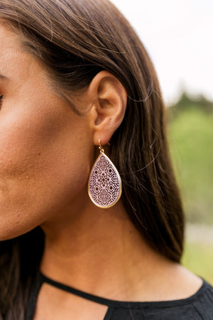 Mauve Moroccan Cut Earrings