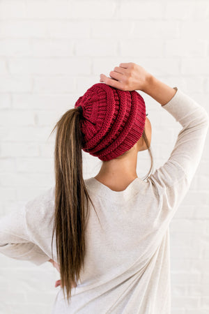 Messy Bun Metallic Beanie In Metallic Burgundy - ALL SALES FINAL
