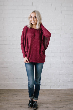 Midnight Ruffle Top in Burgundy