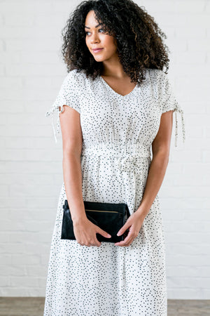 Mindy Midi Dress With Scattered Dots - ALL SALES FINAL