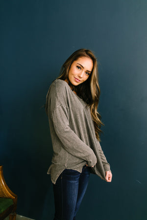 Mineral Washed Hoodie In Charcoal - ALL SALES FINAL