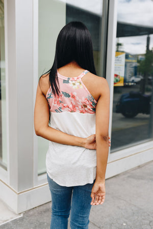 Mix It Up Color Block Tank In Blush