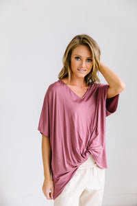 Modal Twist V-Neck In Mauve