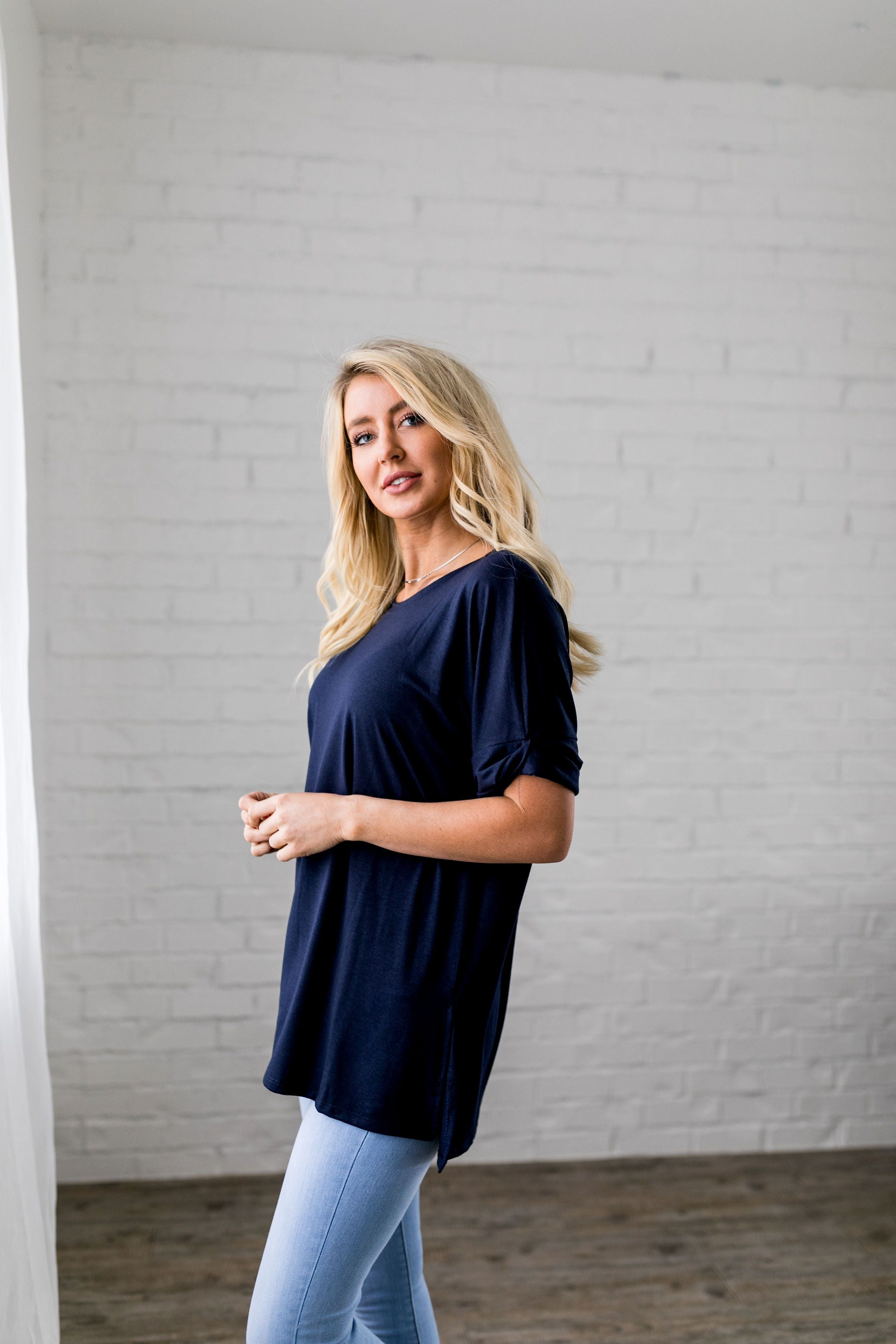 Nessa Crew Neck Top In Navy