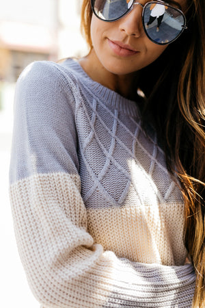 New Sweater On The Block In Gray + Ivory - ALL SALES FINAL