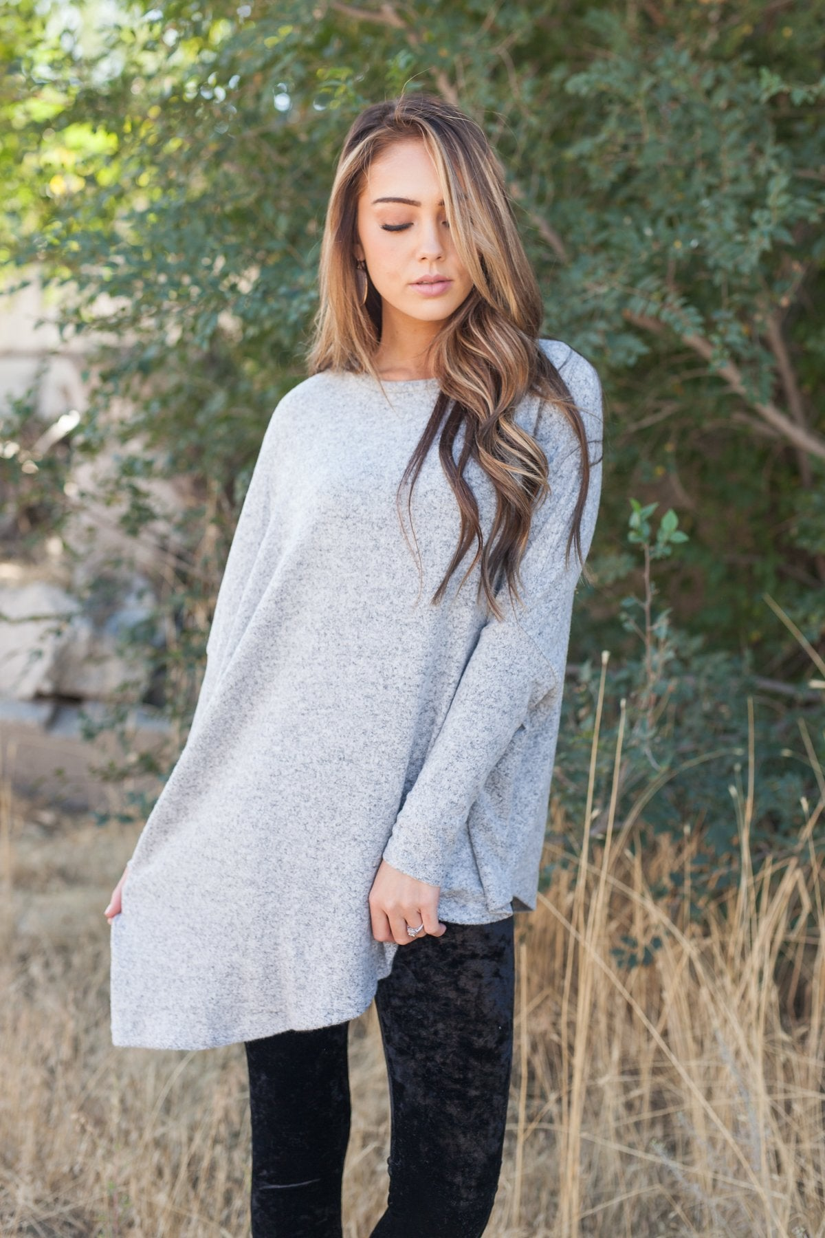 Off Balance On Trend Top In Heather Gray