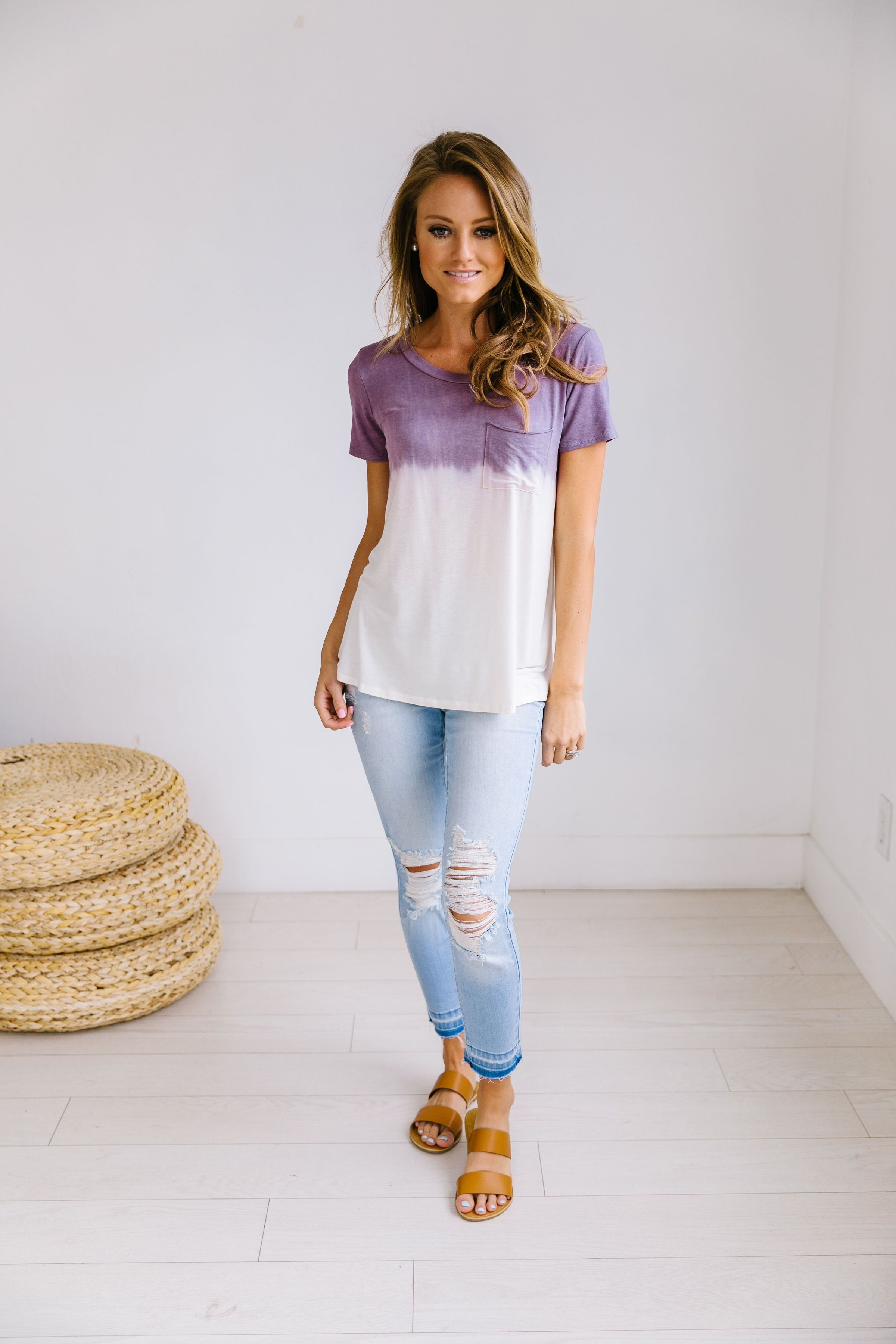 Ombre Dip Dye Tee In Purple - ALL SALES FINAL