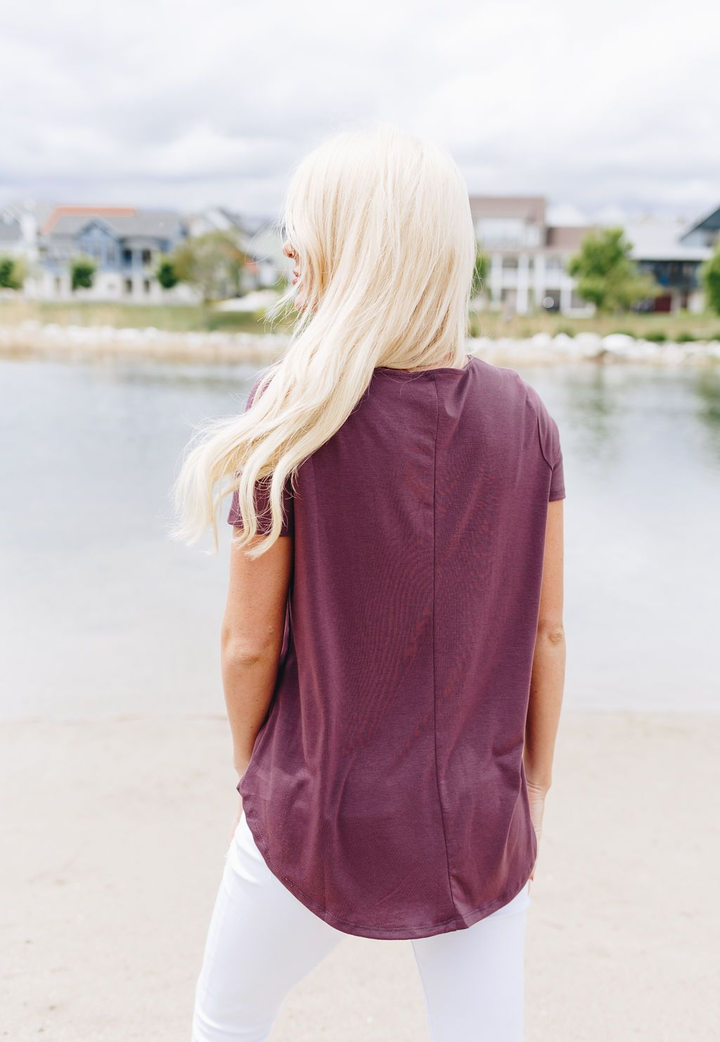 On The Button Basic Top In Plum