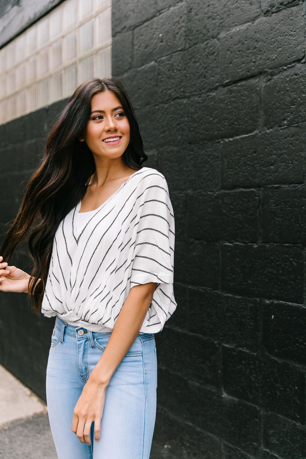 On The Dotted Line Chevron Top