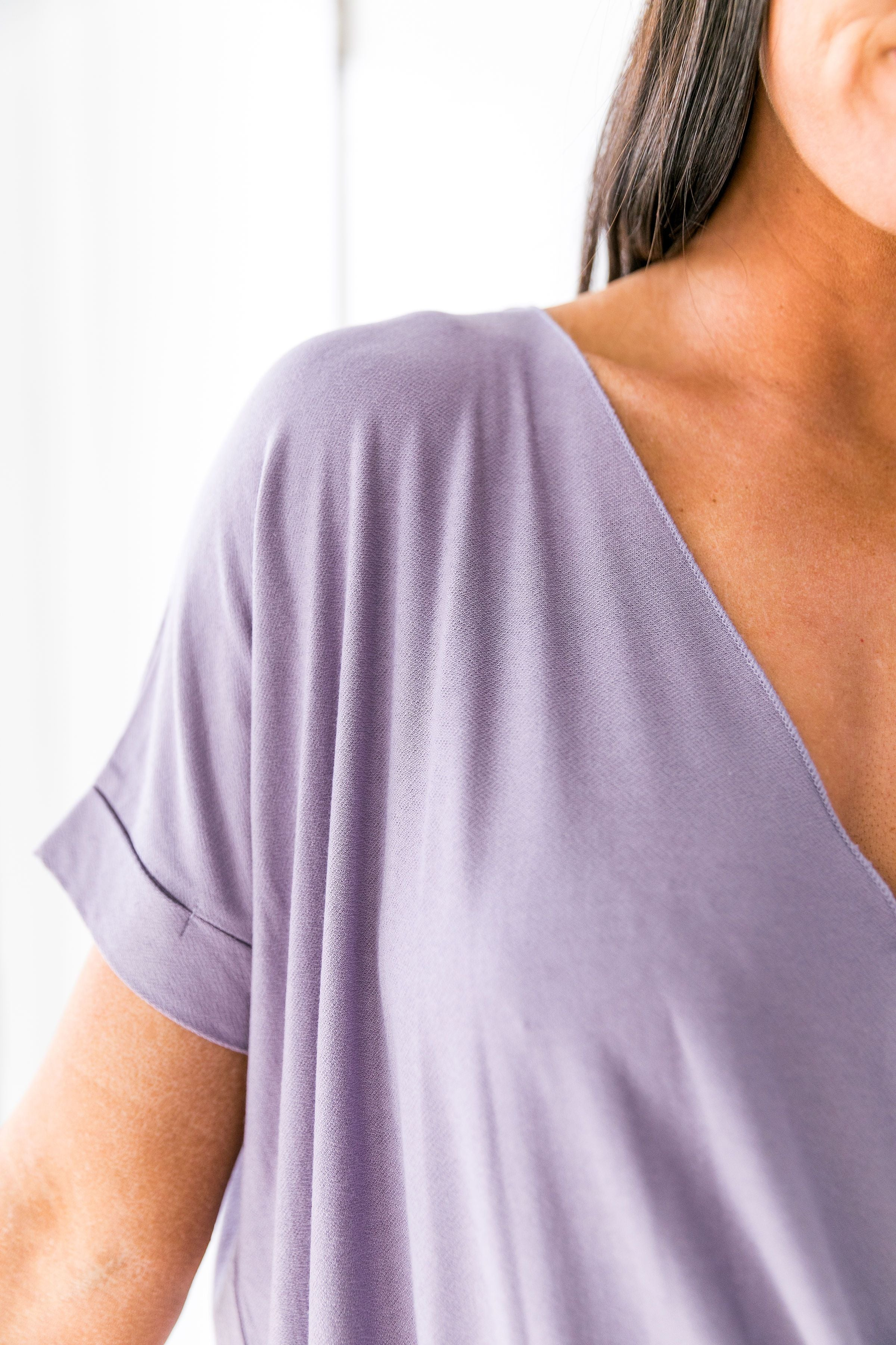Pastel Draped V-Neck Top In Lilac