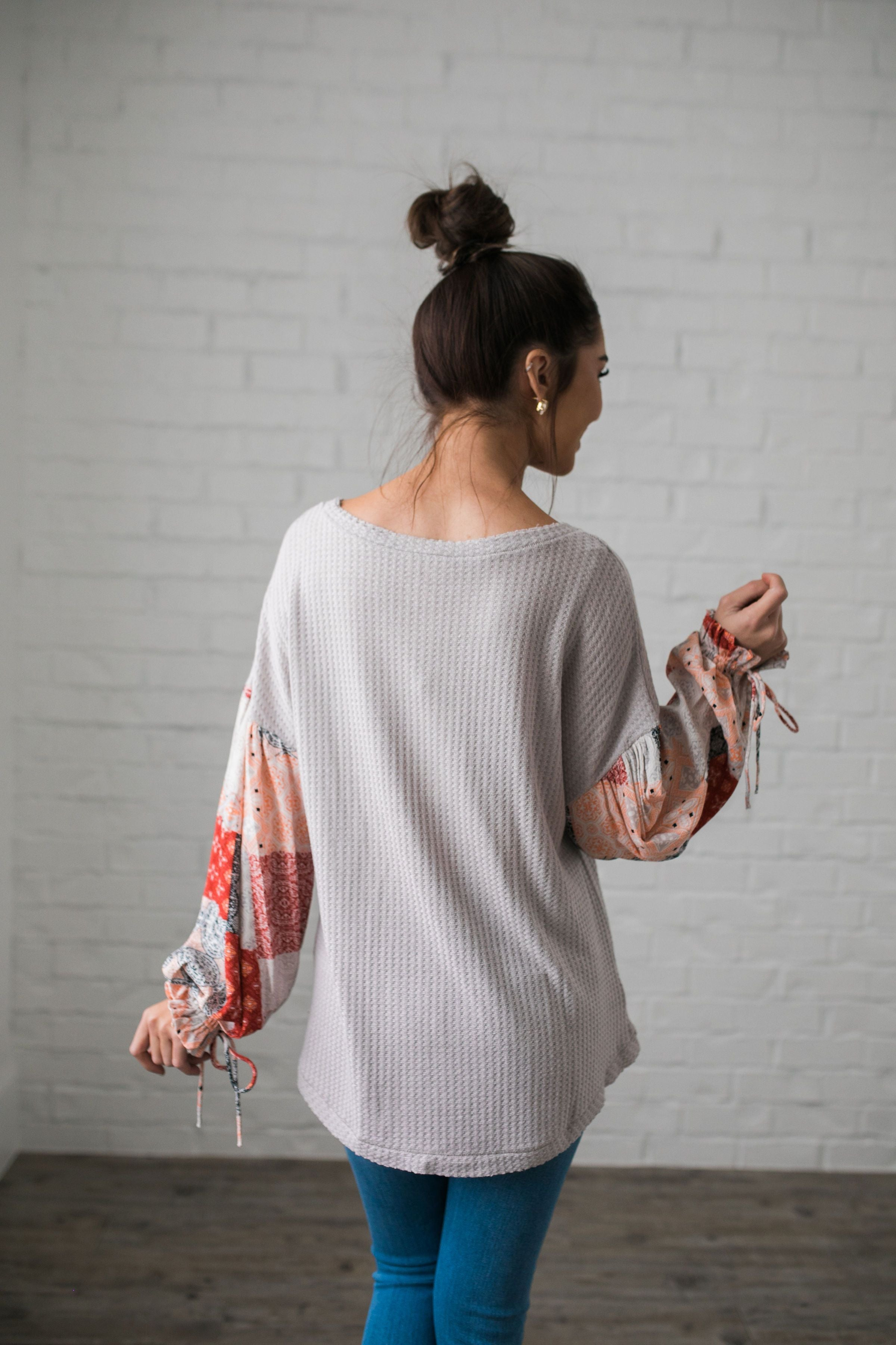 Patchwork Of Promises Top In Taupe - ALL SALES FINAL