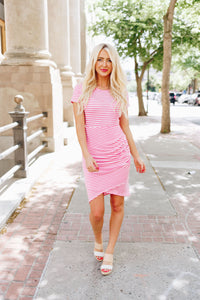 Pink Striped Tulip Hem Dress