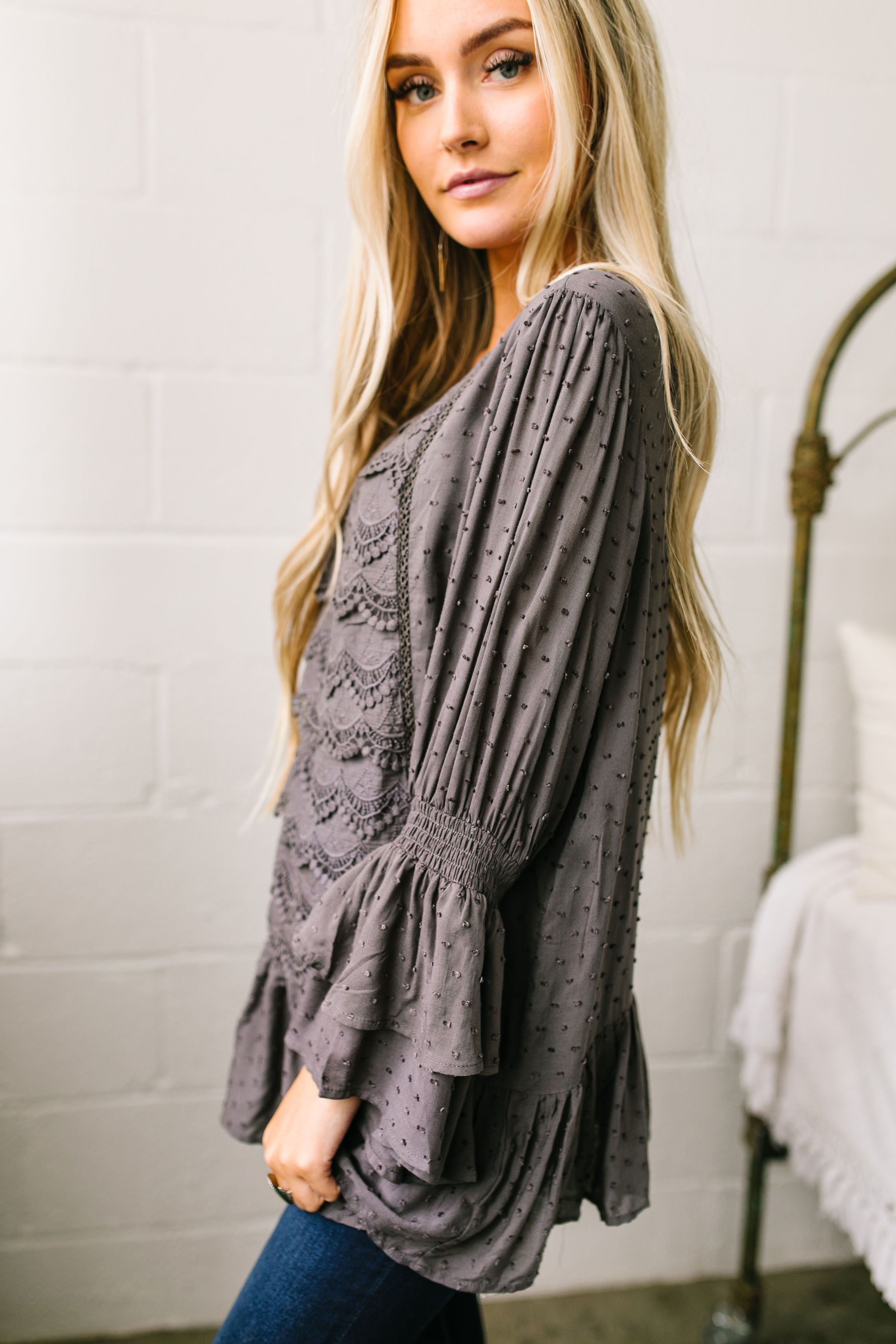 Play It Again Samantha Lace Top In Charcoal - ALL SALES FINAL