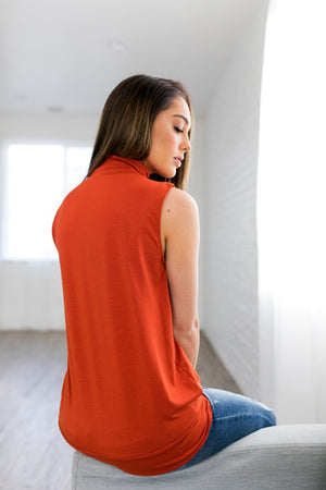 Pleats A Plenty Sleeveless Top In Harvest Orange