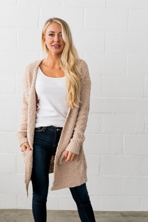 Popcorn Popping Cardigan In Oatmeal