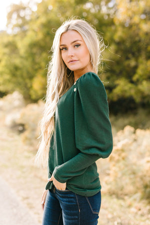 Puff Piece Sweater in Forest Green