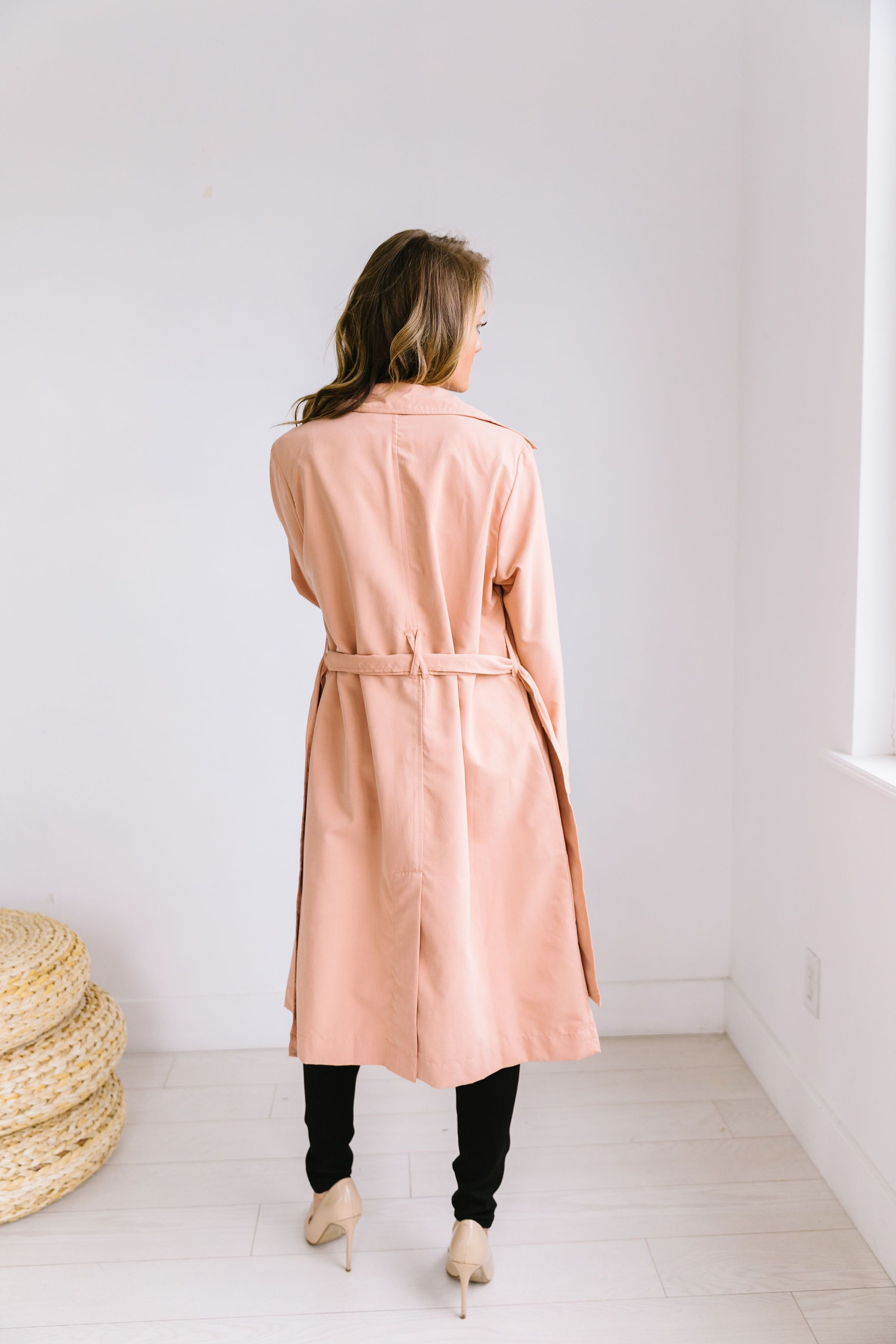 Rainy Day Trench Coat In Blush