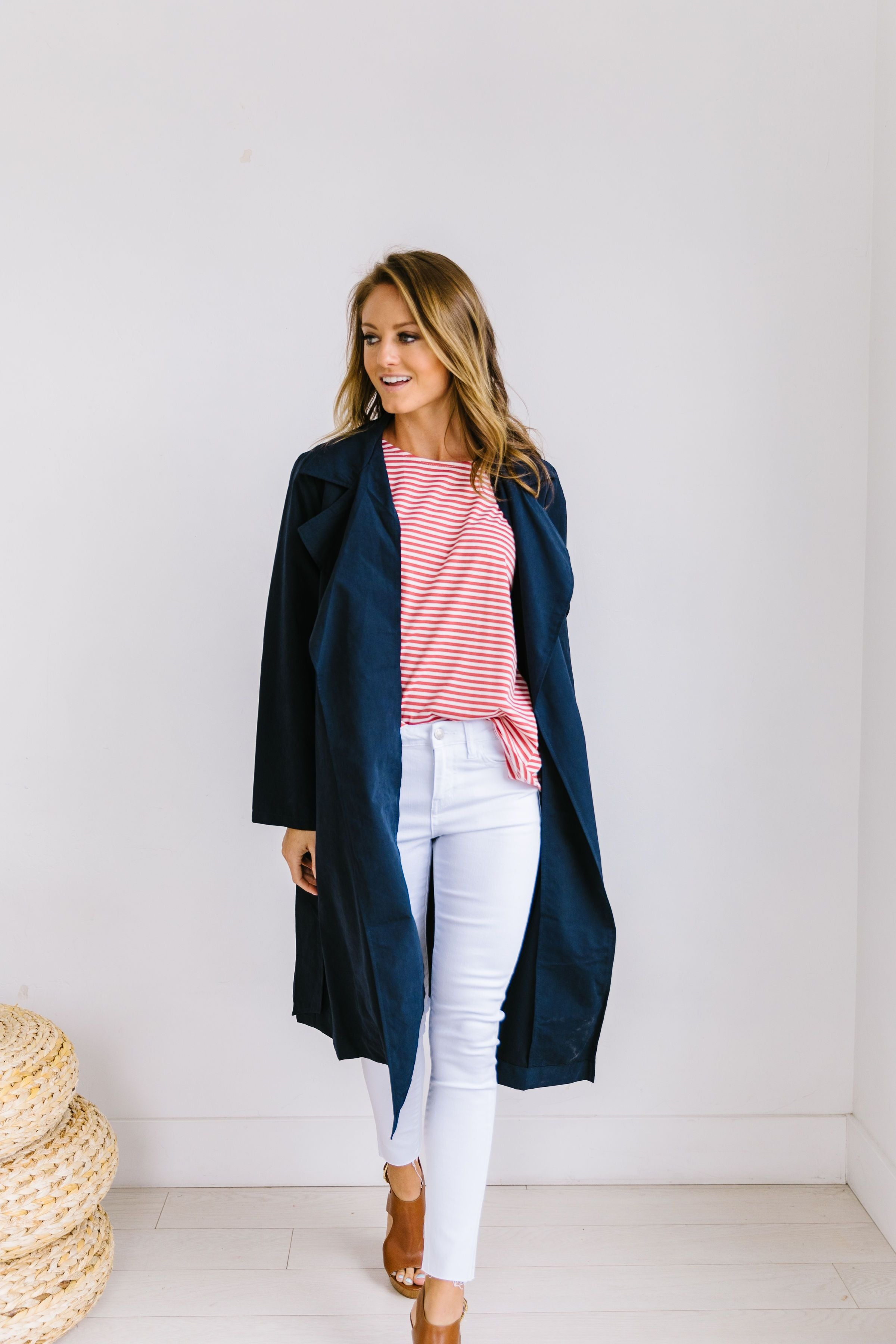 Rainy Day Trench Coat In Navy - ALL SALES FINAL