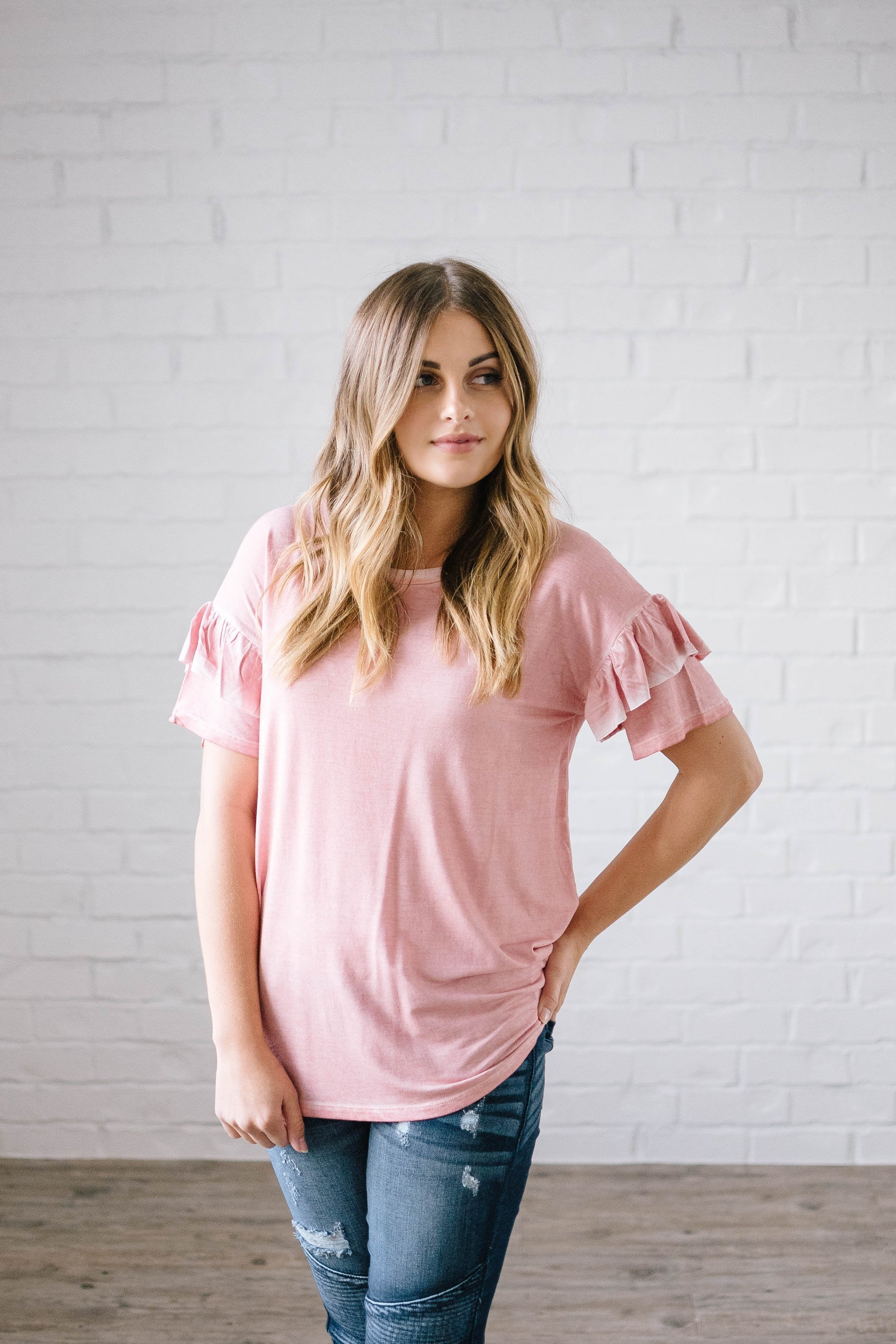 Reve Ruffle Top in Pink