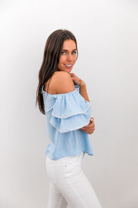 Ribboned Ruffle Cold Shoulder Blouse - ALL SALES FINAL