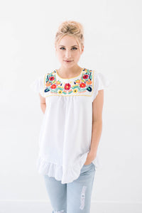 Rosario White Embroidered Top