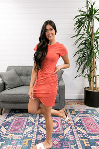Ruched T-Shirt Dress In Papaya