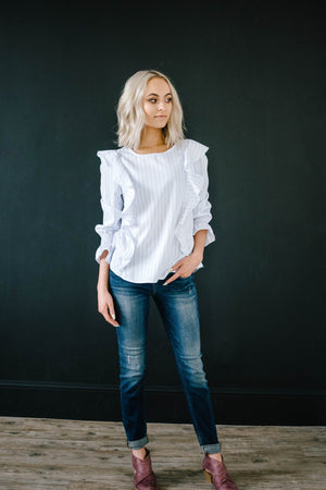 Ruffled Pinstripe Blouse in White