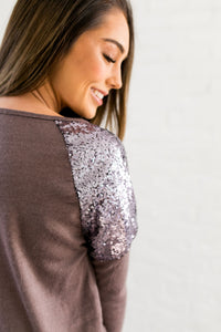 Sequin Spangled Shoulders Top