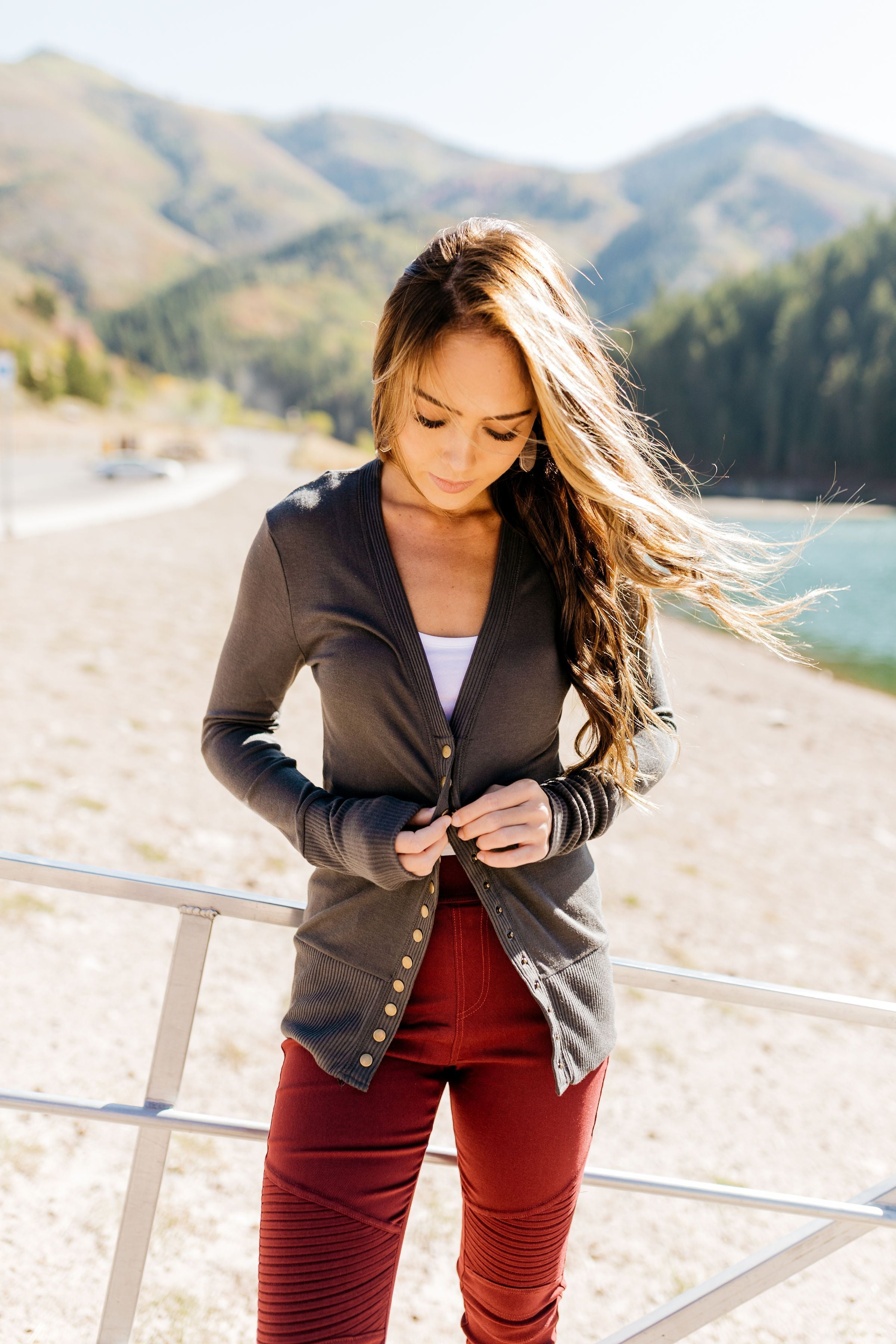 Snap Out Of It Cardigan in Charcoal