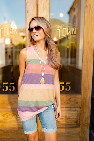 Striped Side Tie Tank In Grape
