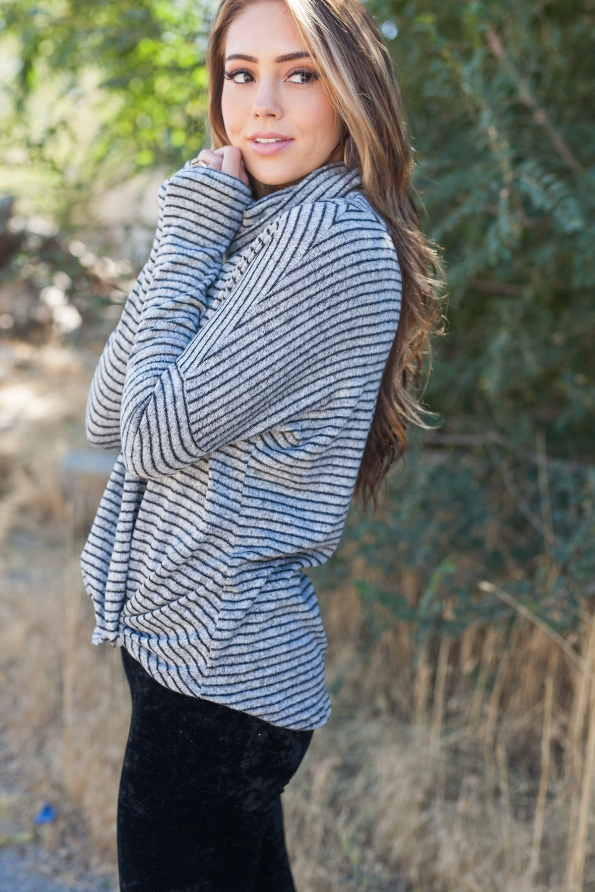 Striped With A Twist Cowl Neck Top - ALL SALES FINAL