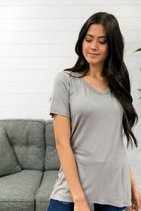 Subtle Stripe V-Neck Tee In Storm