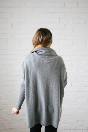 The Cassidy Cowl Neck Sweater in Gray